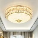 Drum Bedroom Ceiling Flush Mount Modernist Crystal Gold LED Flush Mount Recessed Lighting