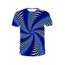 Trendy Mens 3D Visual Deception Pattern Short Sleeve Round Neck Regular Fitted T-Shirt in Blue