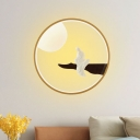 Chinese Style LED Sconce Mural Light Wood/Black Moon and Thinker Wall Mount Lamp with Acrylic Shade