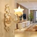 1/2-Light Flameless Candle Wall Light Kit Rural Frosted Glass Hotel Sconce Light Fixture in Gold