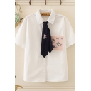 Trendy Womens Tie Front Cartoon Cats Pattern Button-up Short Sleeve Turn-down Collar Regular Fit Shirt with Pocket