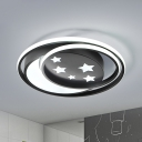 Moon and Star Dorm Room Flushmount Acrylic LED Nordic Ceiling Flush Mount Light in Black