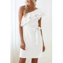 Formal Womens Solid Color Ruffled Oblique Shoulder Bow Tied Waist Short A-line Dress