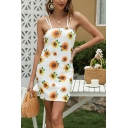 Chic Womens Allover Flower Printed Strappy Slit Side Mini Shift Cami Dress in White