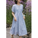 Leisure Womens Plaid Printed Puff Sleeve Crew Neck Mid Pleated Swing Dress in Blue