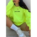 Korean Style Letter Rock More Print Long Sleeve Crew Neck Oversize Pullover Sweatshirt in Green