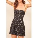 retty Womens Ditsy Floral Print Spaghetti Straps Mini Pleated A-line Cami Dress in Black