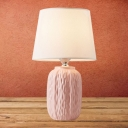 Ceramics Cylindrical Table Lighting Traditional Single Bulb Bedside Fabric Nightstand Lamp in Pink/Yellow/Blue