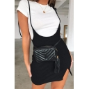 Girls Chic Black Bow Tied Shoulder Slit Side Mini Suspender Slip Dress with Knitted Tee