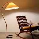 Modern Creative 1 Bulb Floor Lighting Beige Conical Stand Up Lamp with Pleated Fabric Shade and Wood Gooseneck Arm