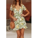 Stylish Womens Allover Leaf Printed Short Sleeve Surplice Neck Bow Tied Waist Ruffled Short Wrap Dress