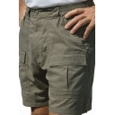 Leisure Mens Plain Zip Fly Button Regular Fit over the Knee Deploy Shorts with Pockets