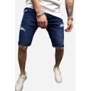 Cool Men's Solid Color Zip-fly Ripped Turn-up Cuffs over the Knee Fitted Blue Denim Shorts with Pockets