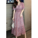 Trendy Womens Ditsy Floral Print Short Sleeve V-neck Gathered Waist Midi Pleated A-line Dress