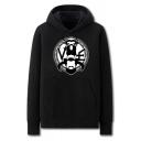 Cool Mens Abstract Pattern Pocket Drawstring Long Sleeve Regular Fit Hooded Sweatshirt