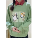 Fashionable Cartoon Plaid Print Long Sleeve Point Collar Fake Two Piece Loose Fit Pullover Sweatshirt for Girls