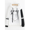 Preppy Looks Letter Bear Graphic Contrasted Long Sleeve Star Print Drawstring Kangaroo Pocket Loose Hoodie for Girls