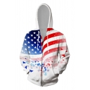 Chic Mens 3D USA Flag Eagle Pattern Zipper up Pocket Drawstring Long Sleeve Regular Fitted Hooded Sweatshirt