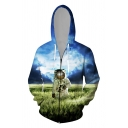 Cool Mens 3D Astronaut Cloud Galaxy Printed Zipper up Pocket Drawstring Long Sleeve Regular Fitted Hoodie