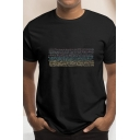 Street Guys Pattern Short Sleeve Crew-neck Relaxed Tee Top in Black