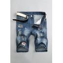 Unique Mens Letter Sanfran Print Zip-fly Pockets Distressed Deep Wash Longline Regular Fit Denim Shorts in Light Blue