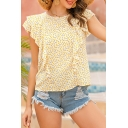 Popular Womens Ditsy Floral Print Ruffled Sleeveless Round Neck Relaxed Fit Blouse Top in Yellow