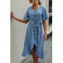 Trendy Womens Solid Color Short Sleeve V-neck Button down Bow Tied Waist Ruffled Mid A-line Dress