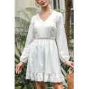Stylish White Lace Panel Long Sleeve V-neck Ruffle-trimmed Short Pleated A-line Dress for Women
