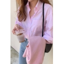 Stripe Printed Long Sleeve Spread Collar Button down Chest Pocket Regular Fit Fashion Shirt in Pink