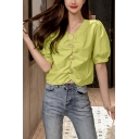 Fashion Womens Chiffon Solid Color Puff Sleeve V-neck Pearl Button down Ruched Regular Fit Blouse