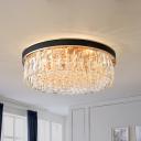 Rectangle-Cut Crystal Drum Flushmount Modernist 5 Lights Black Ceiling Mounted Fixture