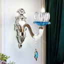 Chrome Floral Shade Wall Lamp Fixture Traditional 1/2-Head Blue Crystal Wall Lighting Idea for Bedroom