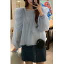 Exclusive Girls Sheer Mesh Ruffle Trim Blouson Sleeve Square Neck Ruched Relaxed Fit Blouse Top in Blue