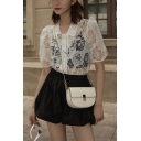 Novelty Girls Solid Color Floral Printed Sheer Button Down Peter Pan Collar Short Puff Sleeve Slim Fit Crop Shirt in White