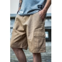 Cool Solid Color Zipper Button Pockets Knee Length Loose Fit Cargo Shorts for Men