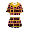 Chic Girls Checkered Allover Symbol 3D Pattern Contrasted Short Sleeve Crew Neck Loose Crop Tee & Relaxed Shorts
