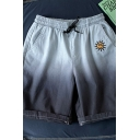 Creative Mens Shorts Ombre Sun Printed Drawstring Waist Knee-length Fitted Lounge Shorts with Pockets