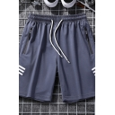 Mens Leisure Shorts Striped Printed Zipper Drawstring Waist Pocket Regular Fitted over the Knee Track Shorts