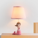 1 Light Bedside Table Light Cartoon Pink Girl Nightstand Lamp with Barrel Fabric Shade