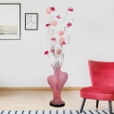 Art Deco Plant Stand Up Lighting Aluminum Wire LED Vase Floor Lamp in Red for Parlour