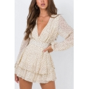 Elegant Womens Polka Dot Printed Long Sleeve V-neck Ruffled Tiered Short Pleated A-line Dress in Apricot