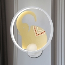 Elephant and Ring Wall Mural Lamp Asia Style Metallic LED Bedroom Wall Light Sconce in White and Gold/White and Red, White/Warm Light