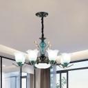 3/6/8 Bulbs Floral Shade Hanging Chandelier Traditional Green Finish Opal Glass Pendulum Light