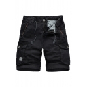 Stylish Mens Shorts Solid Color Flap Pocket Drawstring Button Zipper Mid Rise Regular Fitted Cargo Shorts