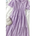 Trendy Summer Womens Solid Color Pleated Tiered Tie Peter Pan Collar Short Puff Sleeve Midi A Line Dress in Purple