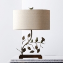 Drum Shade Fabric Night Light Traditional Fabric 1 Bulb Brown Table Lamp with Branch and Bird Design