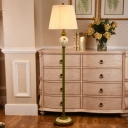 Barrel Pleated Fabric Floor Standing Lamp Traditional 1-Light Parlour Floor Light in Green
