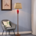 White/Red Urn Shape Floor Lighting Traditional Ceramics Single Living Room Fabric Stand Up Lamp