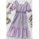 Glamorous Womens Cut Out Ruffle Cuff Patchwork Square Neck Short Puff Sleeve Midi A Line Dress in Purple