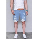 Chic Shorts Light Wash Ripped Pocket Zipper Mid Rise Regular Fitted Jean Shorts for Men